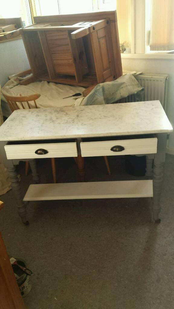 Victorian Mahogany & Marble Top Kitchen Table