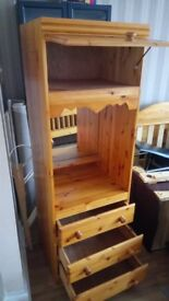 Tall cupboard tall storage unit chester drawer 3 in 1 tall solid wood unit