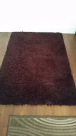 "Carpet / Rug Dark 'Shaggy' Brown 170cm/67"" x 115cm/45"""