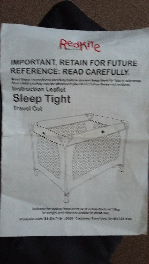 RedKite fold up travel cot with carry bag and good thickness mattress, hardly used