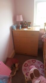 Chest of drawers and two bed side drawers