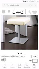 Dwell Furniture - Low Rotating dressing table stool in cream. Brilliant Christmas present