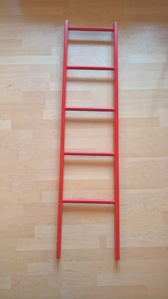 Red Wooden Bunk Bed Ladders With Safety