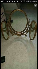Vintage gold tripple dressing table mirror