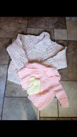 HAND KNITS - NEW...............Aran Jumper, Matinee Jacket & Bootees (Price Is For All)
