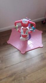 Fisher price pink bounce and spin zebra like new