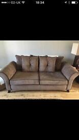 Brown chenille cord sofa