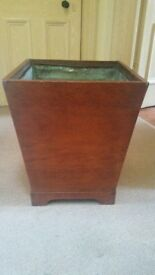 Antique Mahogany Box Fully Lined with Copper - Log Basket / Planter / Wine Cooler