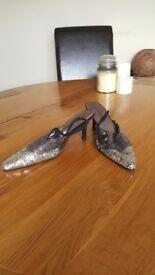 Sequined heeled sling back size 6