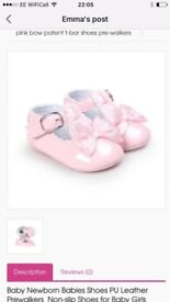 Brand new never been worn 2x pink, 2x white pu leather prewalkers size 6-12 months