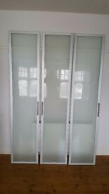 3 Ikea Frosted Glass Hinged Wardrobe Doors 50x229cm, with handles. Hinges not included.