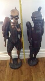 hand carved African warriors