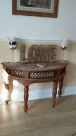 Beautiful soild wooden hall table metal fret work