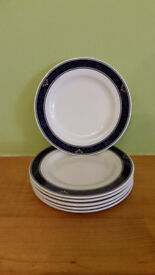 Set of 6 blue and white Churchill side plates