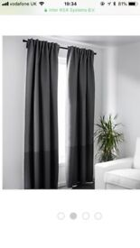 Ikea pair of Marjun block out grey lined curtains