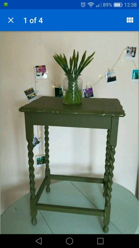 Vintage Upcycled Green Small Side Table Occasional Lamp Desk
