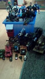 Army soldiers with all accessories, tank, bike, look out towers
