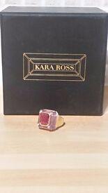 Kara Ross Small Cava amethyst & ruby ring with diamond accents