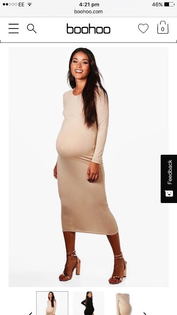 Beige Maternity midi dress