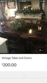 Table and with 7 chairs Victorian style set table price is 40 pound chairs are 120