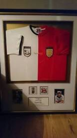 Colin Todd hand signed split shirt display with Coa
