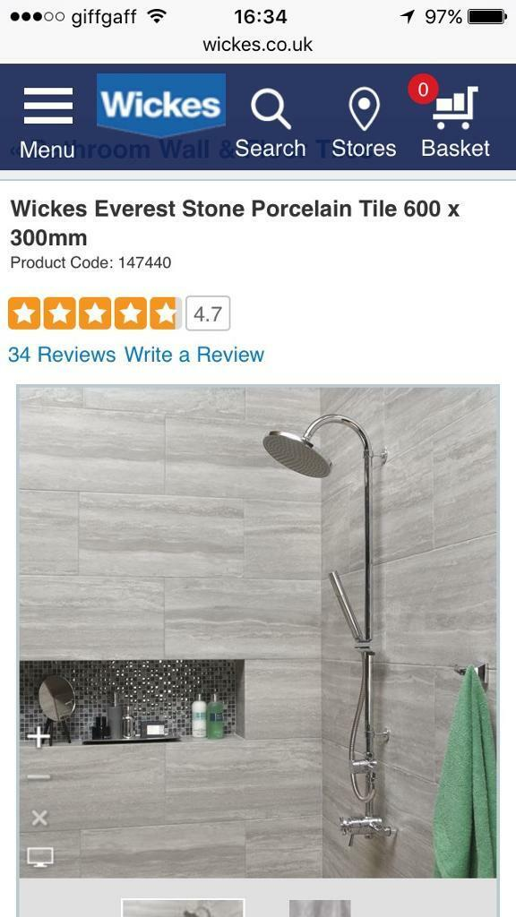 Wickes Everest Stone Porcelain Tile 600 x 300mm 11sqm