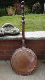 Antique copper,brass and turned wooden handle Bed warmer.