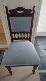 Attractive Edwardian style carved and pale blue Upholstered chair