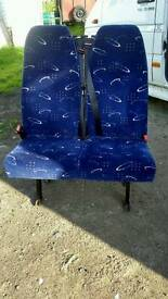 Bus seats with seatbelts