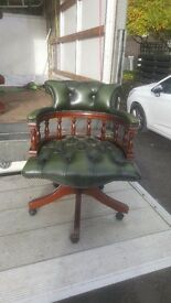 Chesterfield captains chair green leather