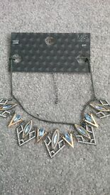New Marks & Spencer metal / glass necklace with blue stones.