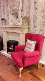 Queen Anne fushia pink velvet chair from creations