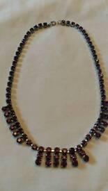 Purple diamonte necklace