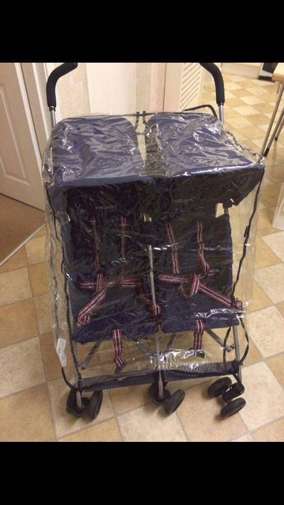 Mcclaren double pushchair /double buggy with seat covers and rain cover