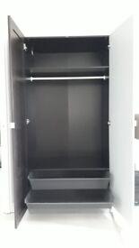 Wardrobe dark brown, mirror door, extra shelves