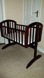 O'Baby Dark Wood Swinging Crib & Mattress