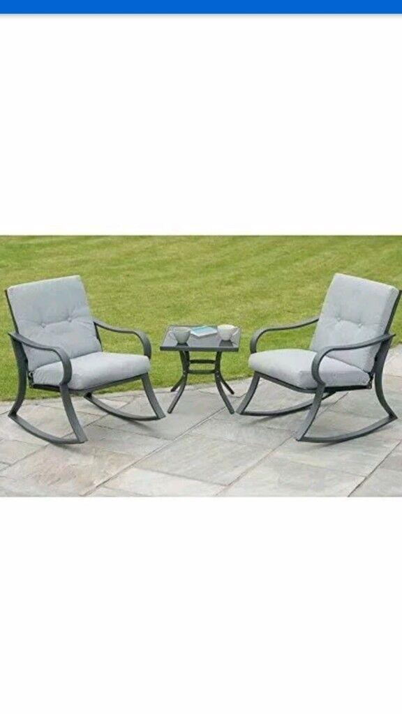 Brand New In Box Madison Padded Rocking Bistro Garden Patio Furniture Set 3 Piece