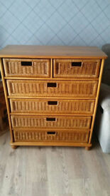 Pine chest of drawers ( wicker basket drawers ) I can arrange delivery