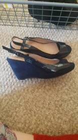 Brand new navy blue wedges heavenly soles by next