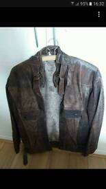 Ladies distressed brown leather bomber style jacket
