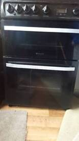Black & Grey HOTPOINT Cooker [KITCHEN BURNER GAS APPLIANCES STOVE METAL STRONG SAFE FRIDGE FREEZER]