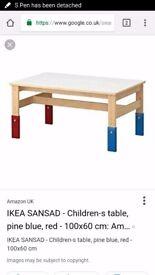 Ikea SANSAD children kids adjustable table with 2 chairs