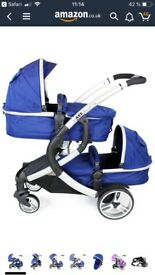 Double pushchair whit carseat