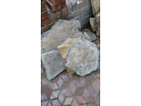 Stone - c. 9 sq m, irregular shapes and sizes, great for paving/dry stone walling, honey colour