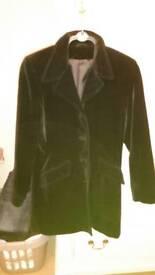 Black velvet three quarter coat