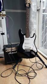 Squire strat and Marshall amp
