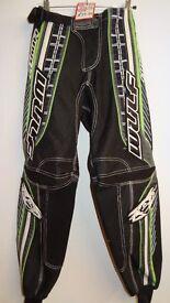 wulfsport race pants motocross motox quad enduro adult size 34 green black