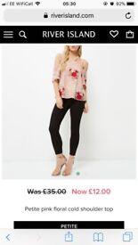 Cold shoulder floral top size 8