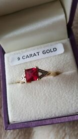 9ct gold, Ruby and Diamond Ring