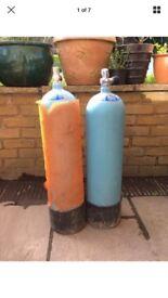 2 x vintage scuba diving tanks